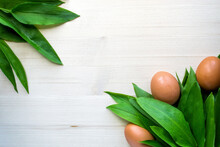 Ramson With Eggs On Bright Wooden Background