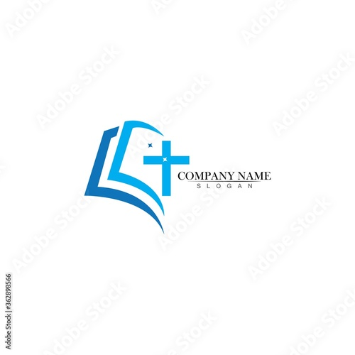 Fotografiet Church logo template design vector illustration