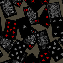 Dark Playing Cards Seamless Pattern Background Drawn In Grey And Red Colors On Black.