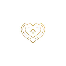Vector Heart Logo With Star Hand Drawn With Thin Lines