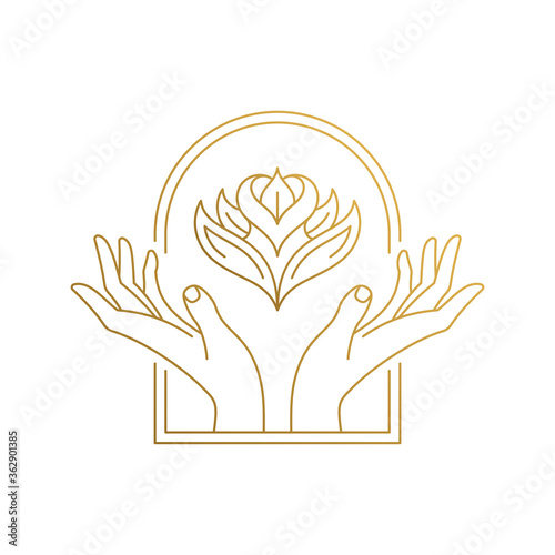 Obraz Outline emblem of hands with flower in window hand drawn with thin lines - fototapety do salonu