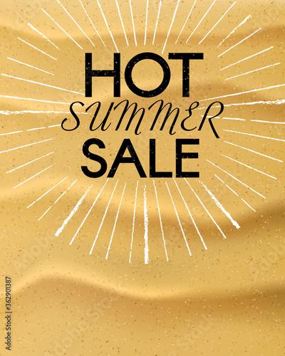 Photo Hot Summer Sale. Vector summer background.
