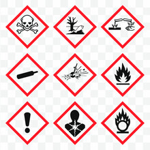 GHS Pictogram Hazard Sign Set. Isolated On  Background. Dangerous, Hazard Symbol Icon Collection. Vector Illustration Image.
