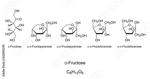 Photo Fructose, fruit sugar, monosaccharide, chemical structure