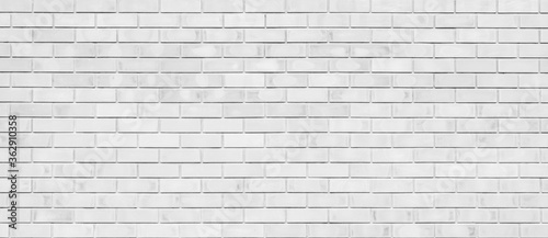 White color brick wall for brickwork background and texture. Canvas Print