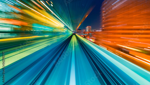 Cuadros en Lienzo Abstract high speed technology POV train motion blurred concept from the Yuikamo