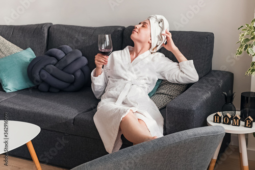 Fototapeta Young woman relaxing at home on weekend obraz