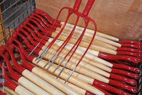 Fotografie, Obraz Steel forks piled up in the workshop
