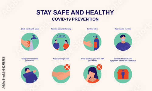 Fotografia Advice For Public On How To Stay Safe From Coronavirus Poster
