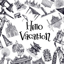 Poster / Card / Composition Of Hand Drawn Sketch Style Landmarks From Around The World Isolated On White Background. Vector Illustration.