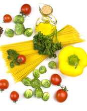 Italian Food. Italian Pasta With Tomatoes And Herbs. Italian Food Food Ingredients. Vids From Above.