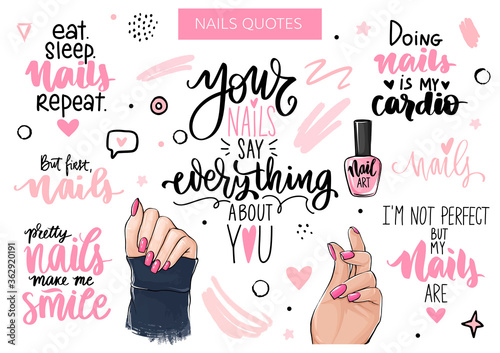 Nails and manicure set with woman hands, handwritten lettering, phrases, Inspira Fototapeta