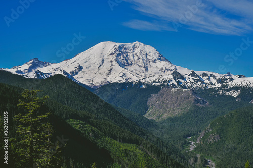 Mount Rainier With Blue Skies