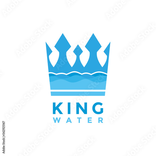 Canvas-taulu Blue King Crown and Water logo design vector