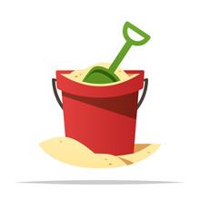 Beach Sand In Bucket With Shov...