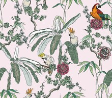 Delicate Chinese Design With Parrot Birds In Blooming Trees With Roses And Palms On Pink Background, Exotic Oriental Wallpaper Seamless Pattern, Wildlife In Tropical Plants Chinoiserie