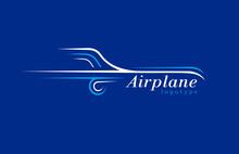 Airplane Logo Lines Style Plan...