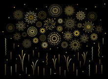 Abstract Burst Gold Pattern Fireworks Set. Art Deco Star Shaped Firework Pattern Collection Isolated On Black Background With Rays And Trails. Birthday Party Or Carnival Festive Decoration,