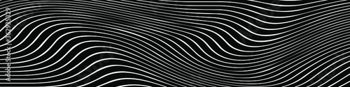 Fototapeta Abstract black and white striped curved lines background
