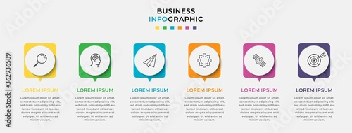 Business Infographic design template Vector with icons and 6 six options or steps Fototapet