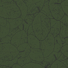 Seamless Pattern Of Green Alder Leaves With Dark Veins Lying On Each Other.
