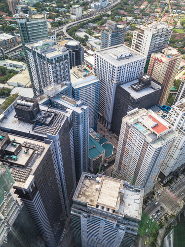 Metro Manila, Philippines - July 2020: The Ortigas skyline. One of the major CBDs of Metro Manila, located within the joint boundaries of Pasig, Mandaluyong and Quezon City.