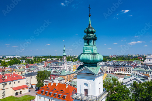 Zamosc, Poland. Aerial view of old town and city main square with town hall. Bird's eye view of the old city. UNESCO World Heritage Sites in Poland. Lublin Voivodeship. Zamosc, Poland, Europe.