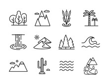 Nature Vector Icons Set. Landscape Sign