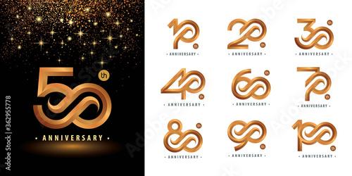 Leinwand Poster Set of 10 to 100 Anniversary logotype design, Years Celebrate Anniversary Logo