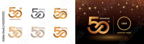 Fototapeta Set of 50th Anniversary logotype design, Fifty years anniversary celebration