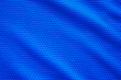 canvas print picture - Blue football jersey clothing fabric texture sports wear background, close up top view