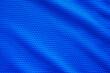 Leinwanddruck Bild - Blue football jersey clothing fabric texture sports wear background, close up top view