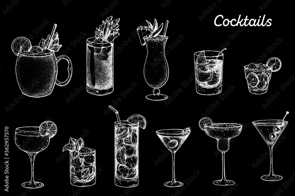 Fototapeta Alcoholic cocktails hand drawn vector illustration. Sketch set. Moscow mule, bloody mary, pina colada, old fashioned, caipiroska, daiquiri, mint julep, long island iced tea, manhattan, margarita.