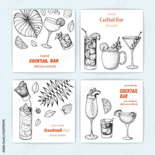 Cocktails hand drawn vector illustration. Alcoholic cocktails sketch set. Vertical banner collection. Design template for bar. © DiViArts