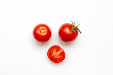 Fresh Cherry Tomatoes With Water Drop Isolated On White Background, Top View, Flat Lay