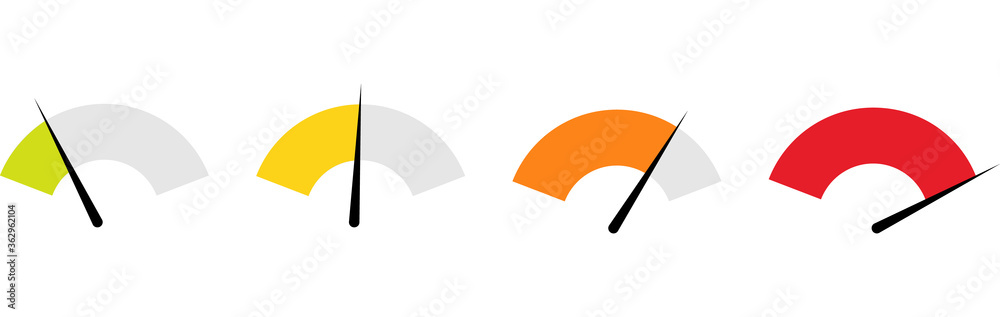 Fototapeta Tachometer, Speedometer and Indicator Icon. Performance Measurement Symbol. Internet Speed test. Rating Satisfaction.Stock Vector