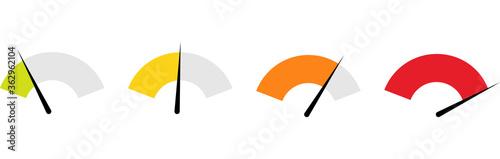 Obraz Tachometer, Speedometer and Indicator Icon. Performance Measurement Symbol. Internet Speed test. Rating Satisfaction.Stock Vector - fototapety do salonu
