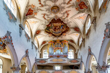 Interior View Of The St. Johann Church In Laufenburg With The Organ And Ceiling Paintings