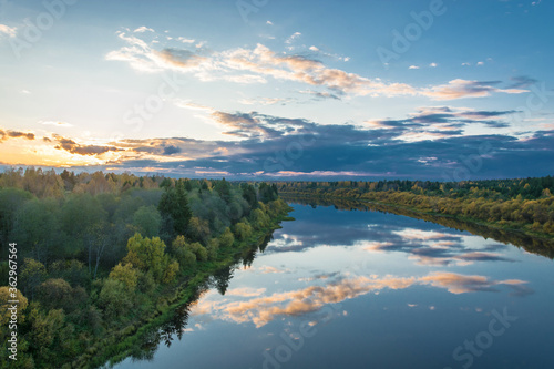 Scenic View Of Lake Against Sky During Sunset Canvas