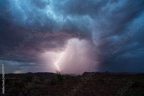 Fotografija A lightning strike Safford, Arizona during monsoon season.