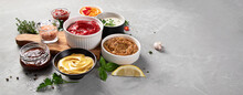 Set Of Various Sauces In Bowls