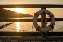 Lifebuoy On Harbor Railing At ...
