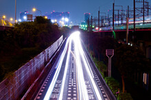 Light Trails On Road In City A...