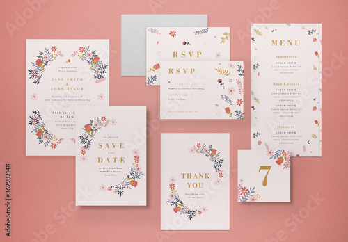 Fototapeta Floral Wedding Invitation Set obraz