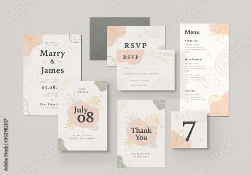 Fototapeta Organic Floral Wedding Invitation Set obraz