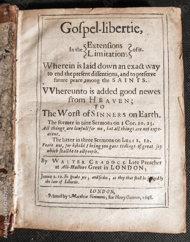 Walter Cradock, Gospel Libertie a seventeenth century book of sermons by Welsh P Wallpaper Mural