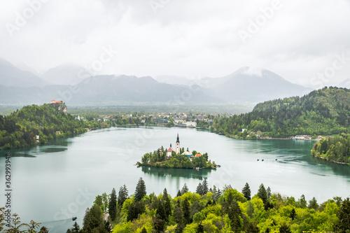 Fototapeta Scenic View Of Lake And Mountains Against Sky obraz na płótnie