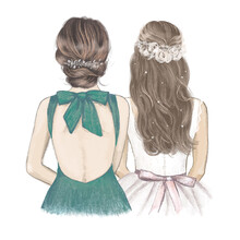 Bride With Bridesmaid Side By Side, Wedding Invitation. Hand Drawn Illustration In Vintage Style