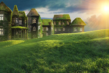 This Is A Photo-manipulation With 3D Models And Real Time Photography. An Idyllic Fantasy Landscape With A Green Field And A Castle Filled With Green Vegetation.