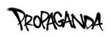 Fototapeta Młodzieżowe - Sprayed propaganda font graffiti with overspray in black over white. Vector illustration.